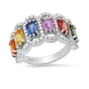 14K White Gold with 3.95ct Multi-Color Sapphire and
