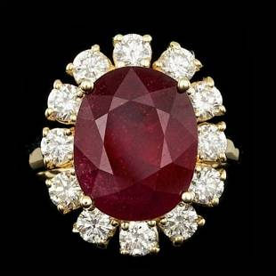 14K Yellow Gold 8.72ct Ruby and 1.68ct Diamond Ring