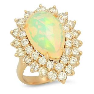 14K Yellow Gold 4.57ct Opal and 2.54ct Diamond Ring