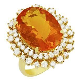 14k Yellow Gold 7.82ct Citrine 1.71ct Diamond Ring