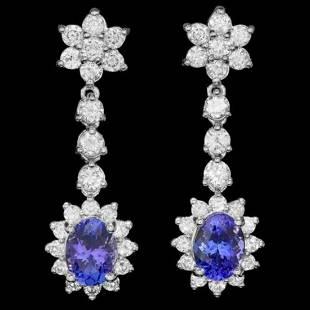 k Gold 3.21ct Tanzanite 2.17ct Diamond Earrings