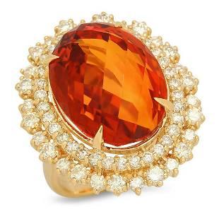 14K Yellow Gold 17.41ct Citrine and 2.16ct Diamond Ring
