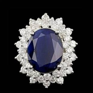 14K White Gold 13.19ct Sapphire and 2.96ct Diamond Ring
