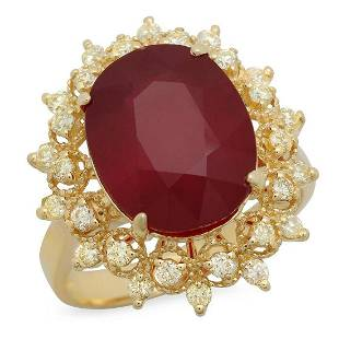 14K Yellow Gold 8.39ct Ruby and 0.53ct Diamond Ring
