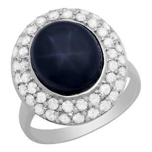 14k White Gold 8.68ct Sapphire 1.12ct Diamond Ring