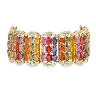 14K Yellow Gold 67.35ct Multi-Colored Sapphire and