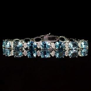 14K White Gold 24.10ct Topaz 0.75ct Diamond Bracelet