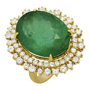 14k Yellow Gold 18.21ct Emerald 2.14ct Diamond Ring