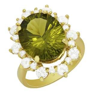 14k Yellow Gold 8.97ct Peridot 1.70ct Diamond Ring