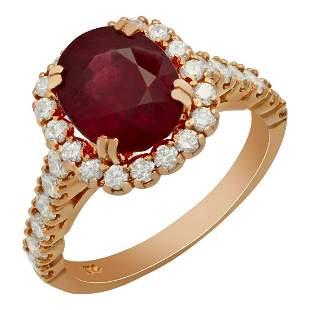 14k Rose Gold 4.34ct Ruby 1.07ct Diamond Ring