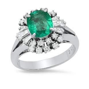 Ladies Platinum Ring with 1.06ct Emerald and 0.77ct