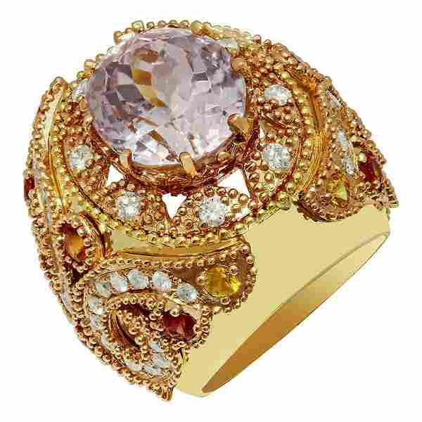 14k Yellow Gold 15.08ct Kunzite 1.20ct Sapphire 1.58ct