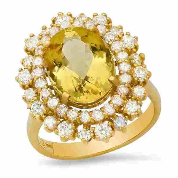 14K Yellow Gold 4.39ct Yellow Beryl and 1.63ct Diamond