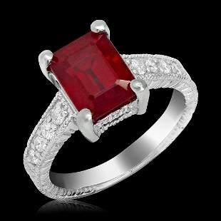 14k White Gold 5.90ct Ruby 0.32ct Diamond Ring