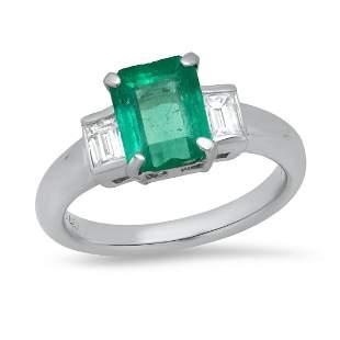Platinum Ladies Ring with 1.66ct Emerald and 0.46ct