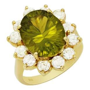 14k Yellow Gold 8.31ct Peridot 1.98ct Diamond Ring