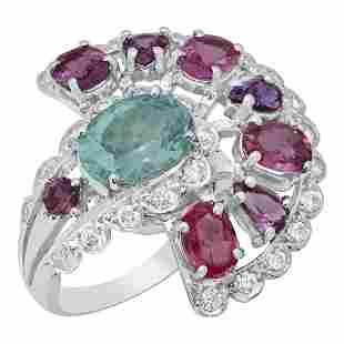 14k White Gold 3.04ct Aquamarine 5.36ct Pink Sapphire