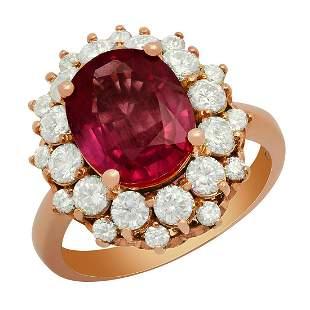 14k Rose Gold 3.99ct Ruby 1.59ct Diamond Ring