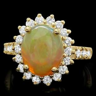 14K White Gold 3.06ct Opal and 0.78ct Diamond Ring