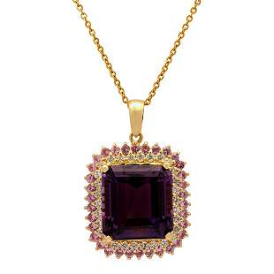 14k Yellow Gold 26.61ct Amethyst 1.95ct Pink Sapphire