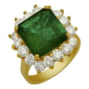 14k Yellow Gold 5.09ct Emerald 2.21ct Diamond Ring