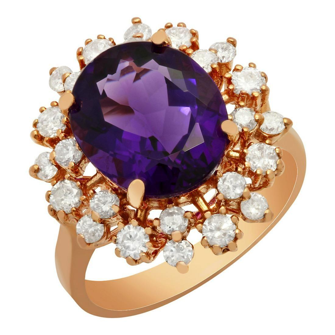 14k Rose Gold 4.41ct Amethyst 1.06ct Diamond Ring