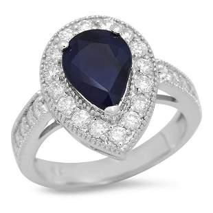 14K White Gold 2.31ct Sapphire and 1.07ct Diamond Ring