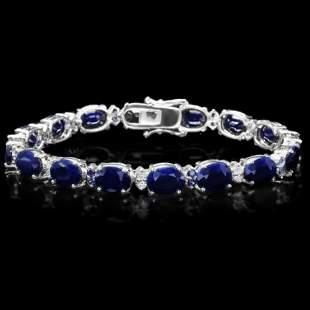 14K Gold 35.14ct Sapphire 0.73ct Diamond Bracelet