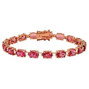 14k Rose Gold 16.50ct Pink Tourmaline 0.95ct Diamond