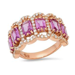 14K Rose Gold with 3.14ct Pink Sapphire and 1.07ct