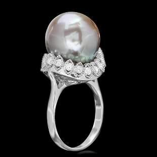 14K White Gold 14mm Tahitian Pearl and 0.54ct Diamond