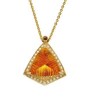 14k Yellow Gold 13.60ct Citrine 0.43ct & 0.05ct Diamond