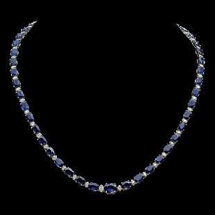 14K Gold 38.73ct Sapphire 1.68ct Diamond Necklace