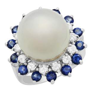 14k White Gold 13.5mm Pearl 1.37ct Sapphire 0.74ct