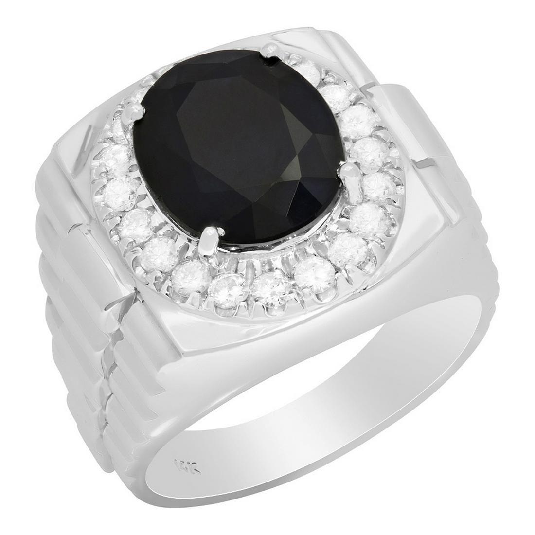 14k White Gold 9.34ct Sapphire 0.82ct Diamond Ring