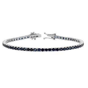 14k White Gold 5.10ct Sapphire 0.42ct Diamond Bracelet