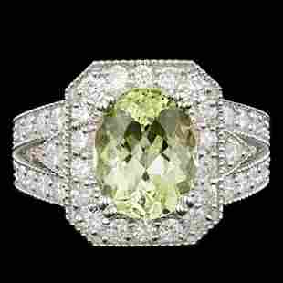 14K White Gold 3.47ct Beryl and 1.29ct Diamond Ring