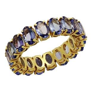 14k Yellow Gold 10.63ct Tanzanite Eternity Band Ring
