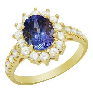 14k Yellow Gold 2.03ct Tanzanite 0.81ct Diamond Ring