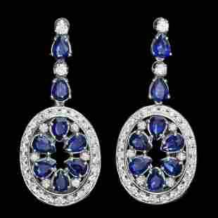 14k Gold 11.37ct Sapphire 3ct Diamond Earrings