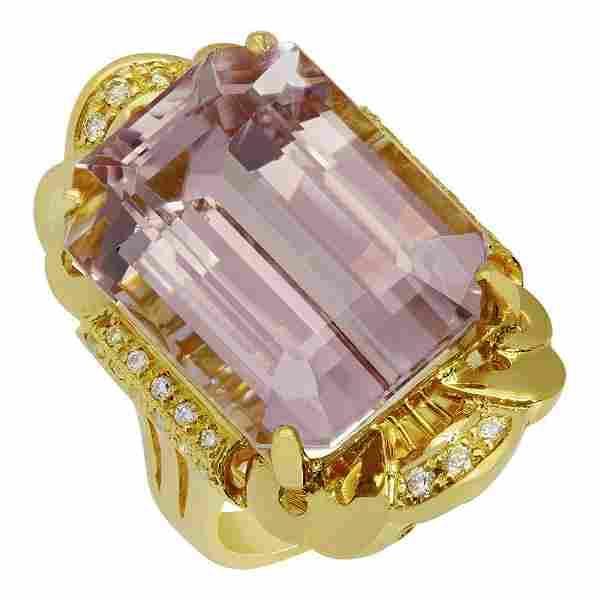 14k Yellow Gold 26.90ct Kunzite 0.28ct Diamond Ring