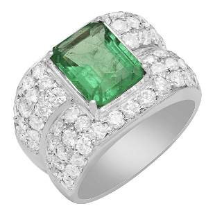 14k White Gold 3.46ct Emerald 3.68ct Diamond Ring