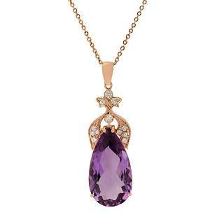 14k Rose Gold 24.96ct Amethyst 0.57ct Diamond Pendant