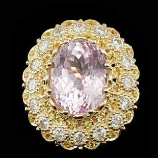 14K Yellow and Pink Gold 14.15ct Kunzite and 2.07ct