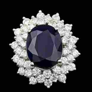 14K White Gold 9.30ct Sapphire and 2.82ct Diamond Ring