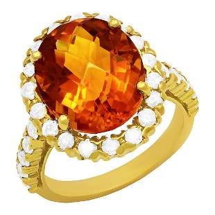 14k Yellow Gold 6.51ct Citrine 1.11ct Diamond Ring