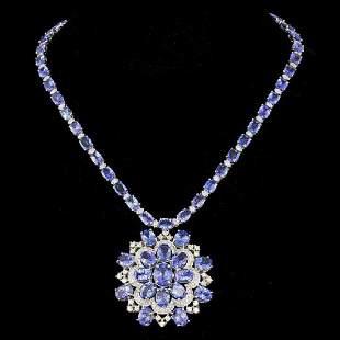 14K White Gold 52.90ct Tanzanite and 5.14ct Diamond