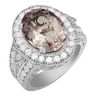 14k White Gold 5.71ct Kunzite 1.73ct Diamond Ring