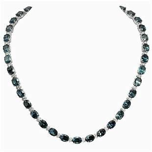 14k White Gold 55.81ct Blue Topaz 2.81ct Diamond