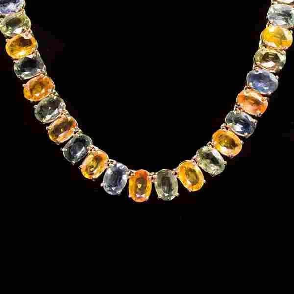 14K Gold 77.19ct Multi-Color Sapphire Necklace